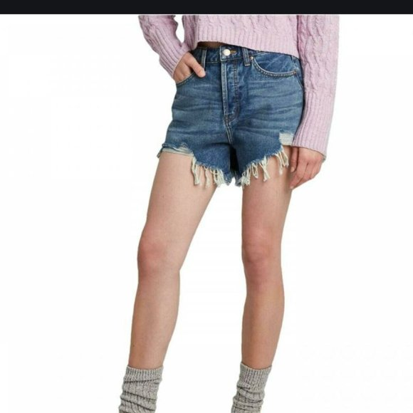 Wild Fable High-Rise Frayed Jean Shorts